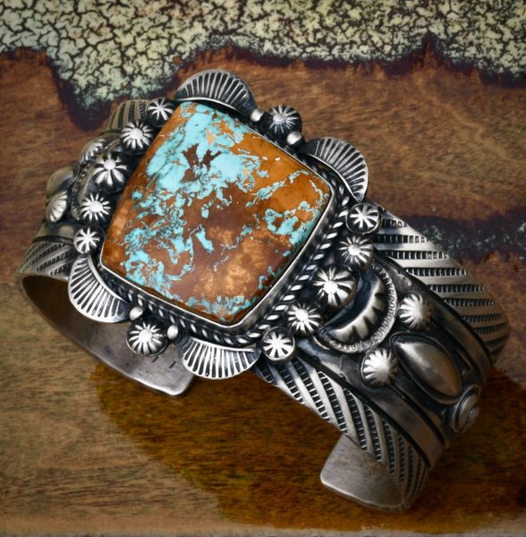 Robert Shakey' Navajo turquoise cuff with extensive hand-stamping. SOLD! #1747