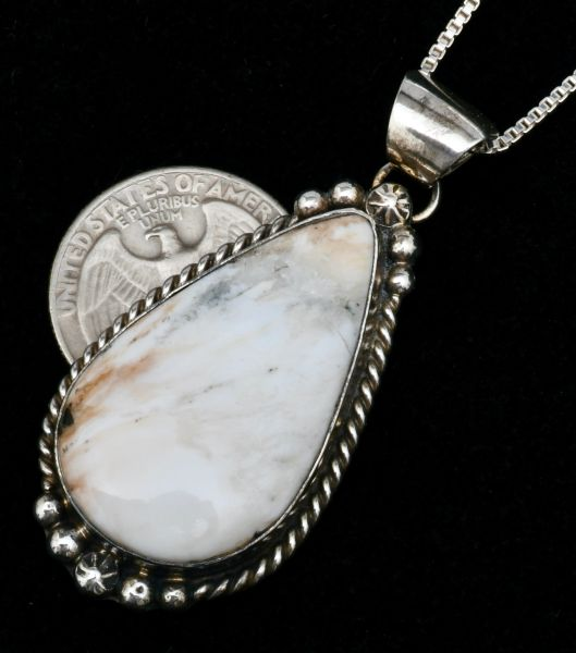Navajo teardrop pendant (and chain) with White Buffalo stone by Augustine Largo. #1749