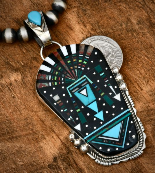 """Ray Jack large inlaid nighttime sky pendant (shown with optional 8mm, 20-inch burnished Sterling Navajo """"pearls""""). #1750"""
