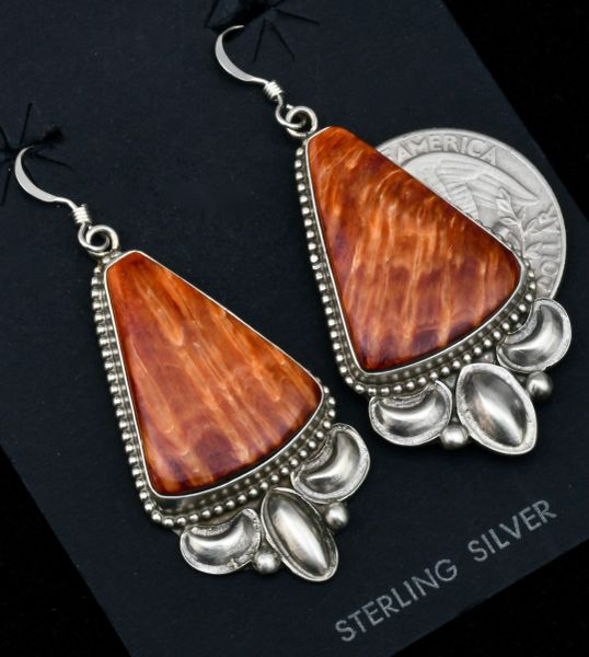Navajo earrings with orange spiney-oyster shell by Robert Shakey. #1751