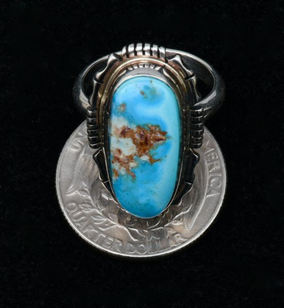 Size 8 Golden Hills turquoise Navajo ring. #1754