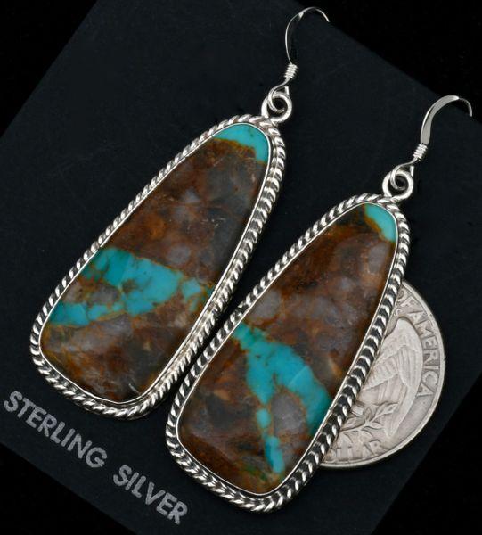 Matching ribbon turquoise Navajo earrings. #1755