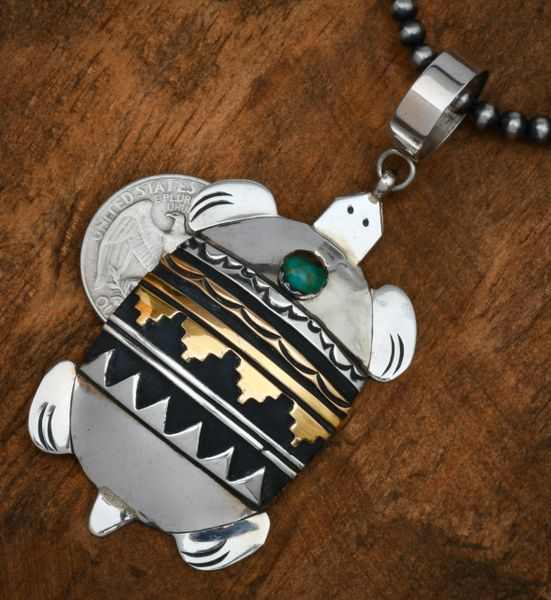 T&R Singer goldcraft Navajo turtle pendant with 4mm, 24-inch burnished Sterling Navajo pearls. #1756