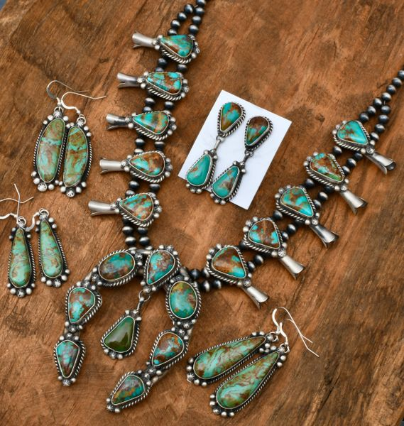 18-stone Sterling Navajo squash-blossom necklace set (includes the two-piece earrings on the card in the center) with Kingman turquoise. SOLD!