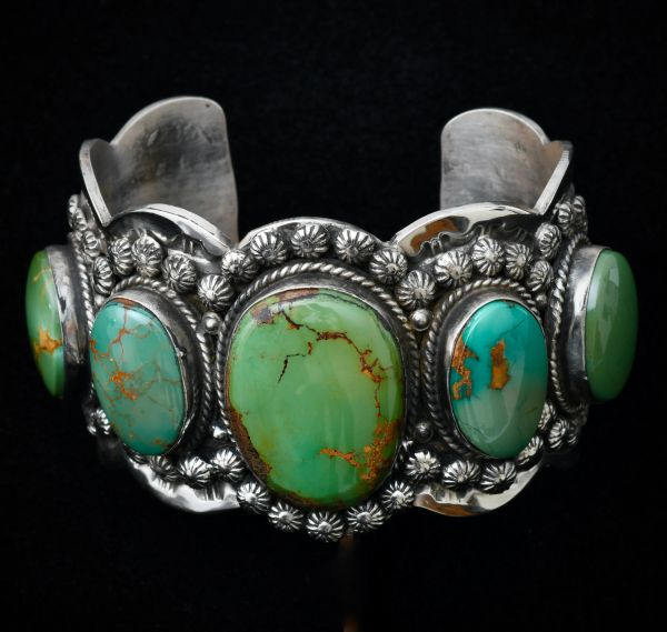 Heavy silver custom Navajo cuff with five Royston turquoise stones, by Gilbert Tom. SOLD (again!) #1761