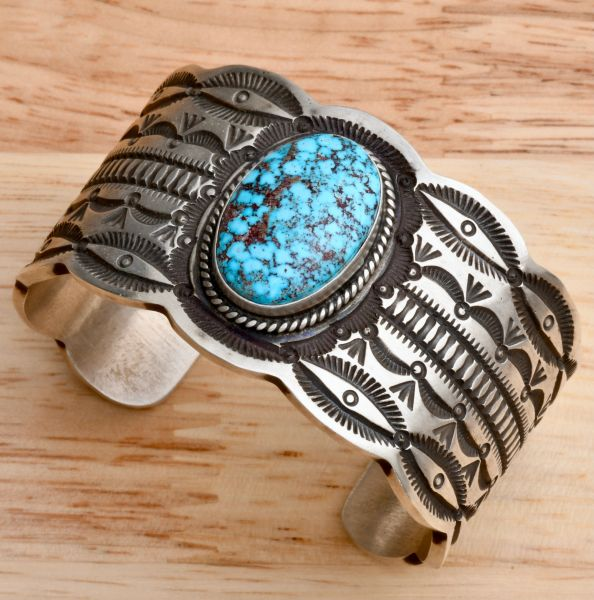 Heavy silver Navajo cuff by Henry Sam with black-web Kingman turquoise. #1766