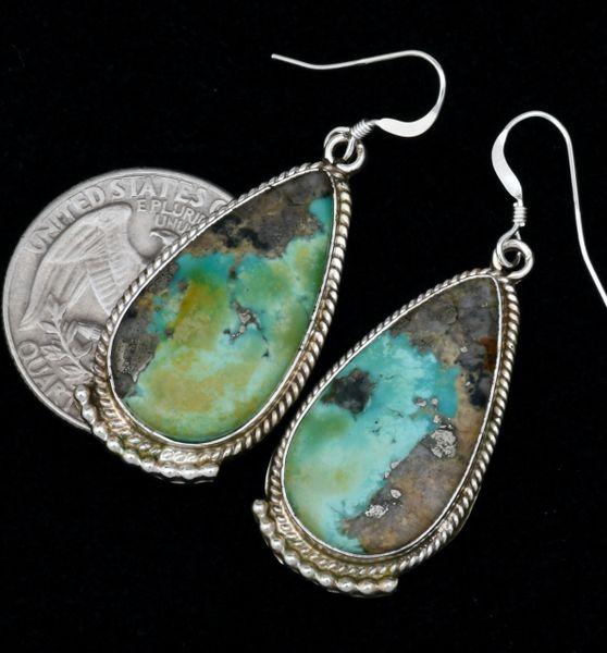 Navajo turquoise hangar earrings with unusual color. #1768