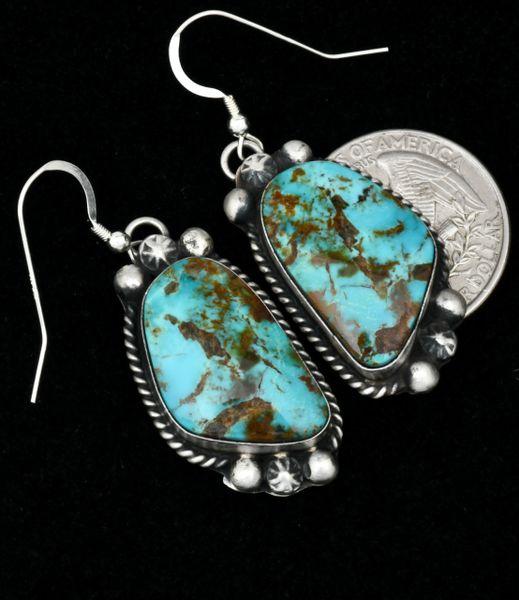 Augustine Largo' Kingman turquoise Navajo earrings. #1770