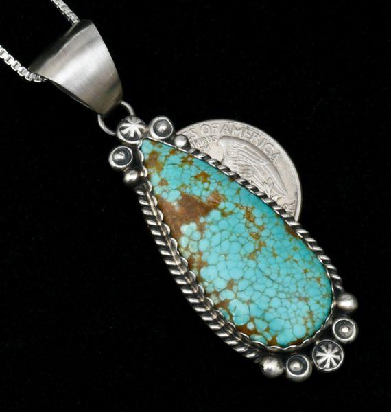 Robert Shakey' Navajo pendant (and chain) with No. 8 Mine turquoise. #1771