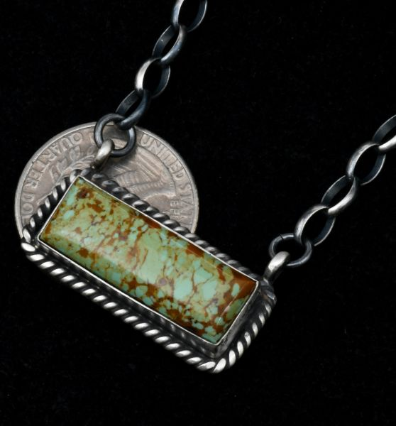 Augustine Largo' Royston Turquoise Navajo bar necklace with heavy-gauge Sterling chain. #1773