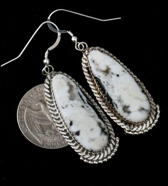 Virginia Becenti Navajo earrings with real White Buffalo. #1776