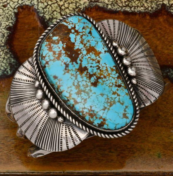 Glenn Livingston No. 8 Mine turquoise Navajo cuff. #1778