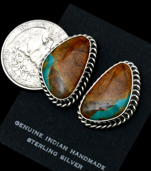Navajo studs with ribbon turquoise by Elouise Kee. #1779