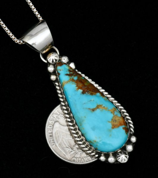 Navajo teardrop pendant with Kingman turquoise, by Augustine Largo (chain included). #1789