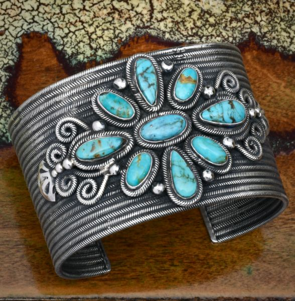Navajo dead-pawn nine-stone turquoise cluster cuff. #1790