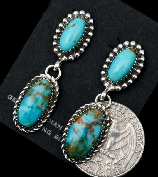 Two-piece Kingman turquoise Navajo earrings by Avin Joe. SOLD! #1792