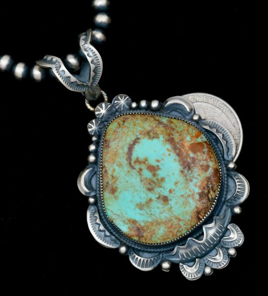 Juanita Long' ornate old-style Navajo pendant, shown with optional 5mm, 24-inch burnished Sterling Navajo 'pearls.' SOLD! #1795