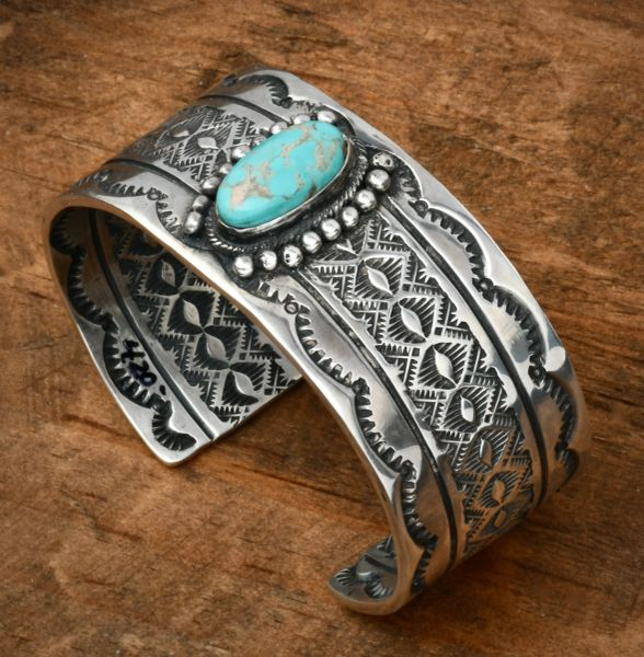 Navajo cuff hand-stamped on both sides with Turquoise Mountain stone, by Joey Allen. #1796