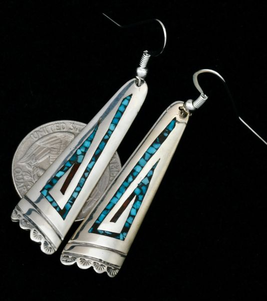 Charlie Singer turquoise and red coral chip inlay Navajo earrings. SOLD! #1797