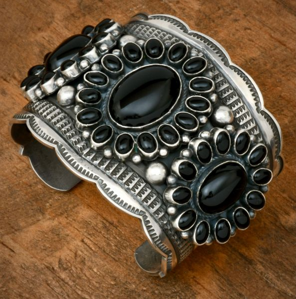 Andy Cadman 42-stone black onyx Navajo cluster cuff. #1802