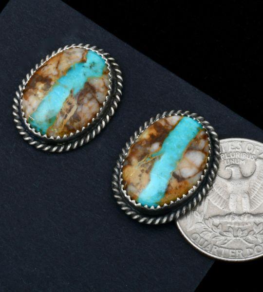 Navajo ribbon turquoise stud earrings by Virginia Becenti. #1804