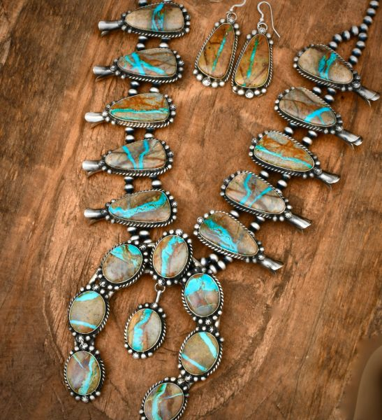 Augustine Largo ribbon turquoise squash-blossom necklace and earrings. #1805
