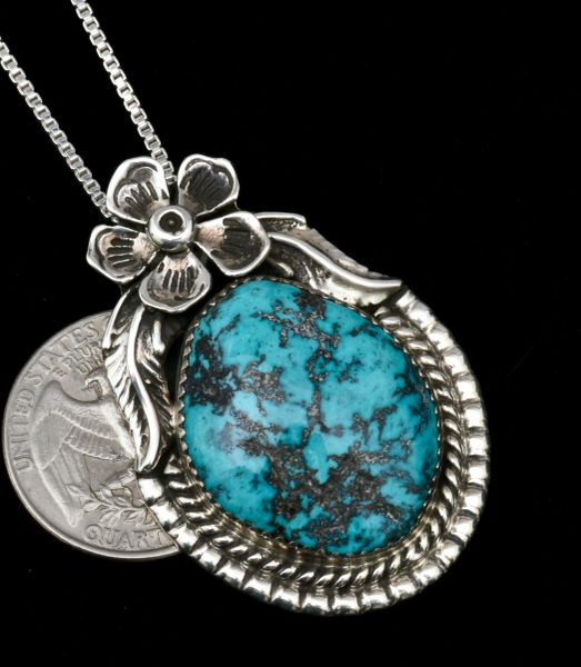 Navajo turquoise pendant (with chain) by Lenora Begay. #1806