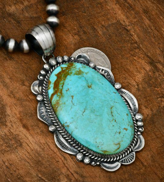 Large Gilbert Tom Kingman turquoise Navajo old-style patina pendant. #1811