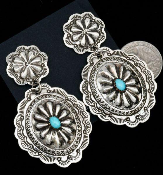 Hand-stamped Navajo double concho earrings with reverse-stamped repousse' and turquoise. #1812
