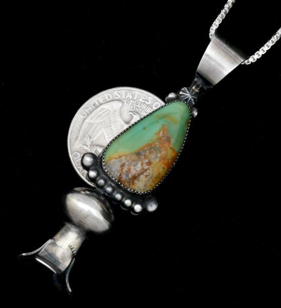 Juanita Long' Navajo Royston turquoise single squash-blossom pendant with chain. SOLD! #1813