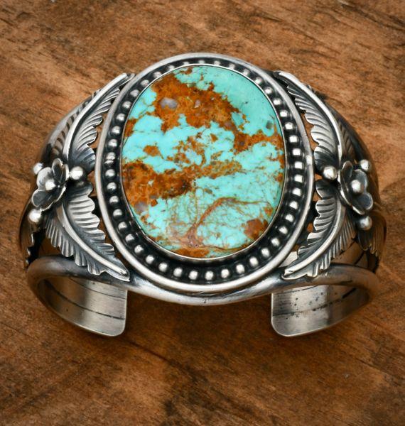 Alfred Martinez' Navajo cuff with single large Kingman turquoise stone. #1815