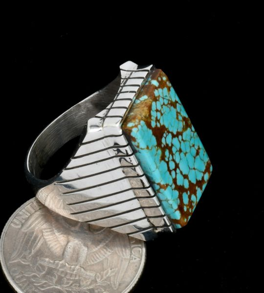 Size 11 No. 8 Mine turquoise traditional Navajo ring. #1816
