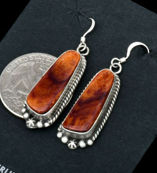 Elouise Kee spiney-oyster shell Navajo earrings. #1822