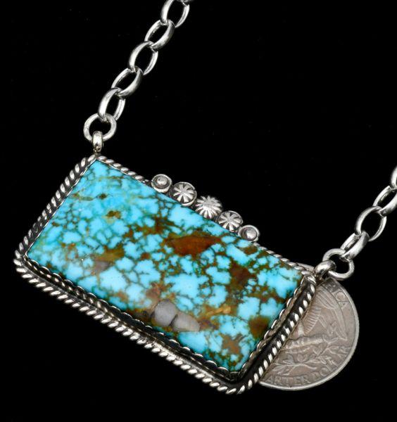 Robert Shakey' large water-web Kingman turquoise Navajo bar necklace. #1823
