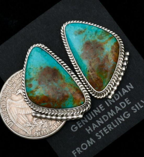 Colorful Navajo Kingman turquoise stud earrings by Verley Betone. #1825