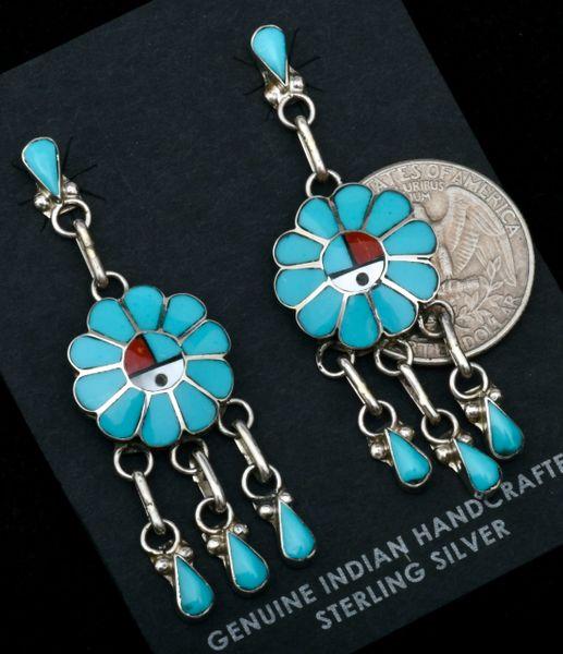 Zuni-made inlaid sunface earrings by Burdian Sosseeah. #1826