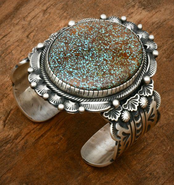 Bennie Ramone' micro-web Kingman turquoise Navajo cuff. #1827