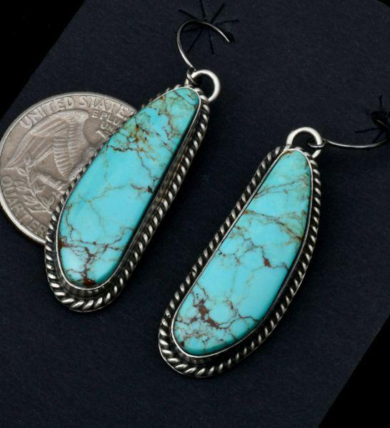 Donovan Skeets Kingman blue turquoise Navajo earrings. #1828
