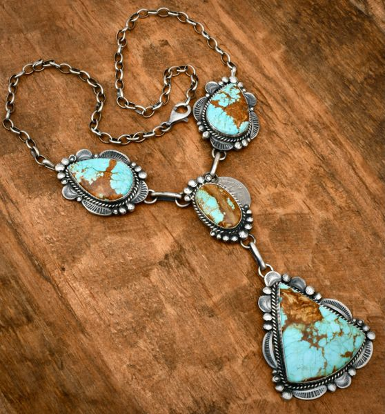 Gilbert Tom' No. 8 Mine turquoise pendant necklace. #1830