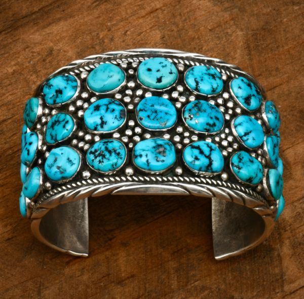 Dead pawn Navajo 31-stone Sleeping Beauty turquoise cluster cuff. #1833