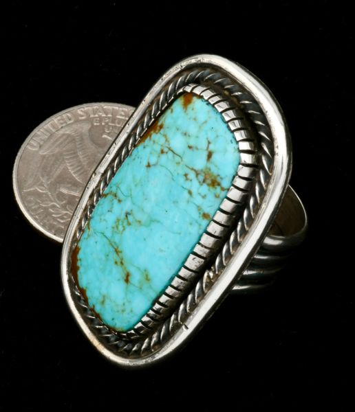 Very substantial size 8.25 No. 8 Mine turquoise Navajo ring by Myron Etsitty. #1836