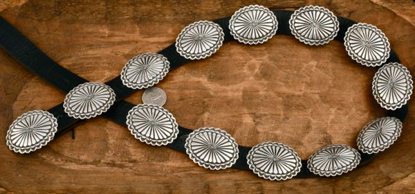 Solid Sterling-silver Navajo dead-pawn concho belt with 13 thicker-gauge hand-stamped conchos, by Leonard Maloney. #1837