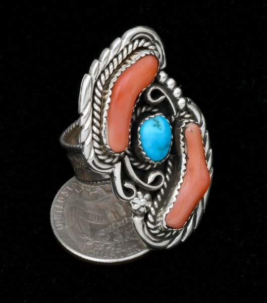 Adjustable pick coral and turquoise Navajo ring. #1838