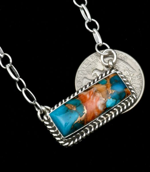 Donovan Skeets' medium-size Navajo bar necklace with turquoise; spiney-oyster shell and bronze mix. #1839
