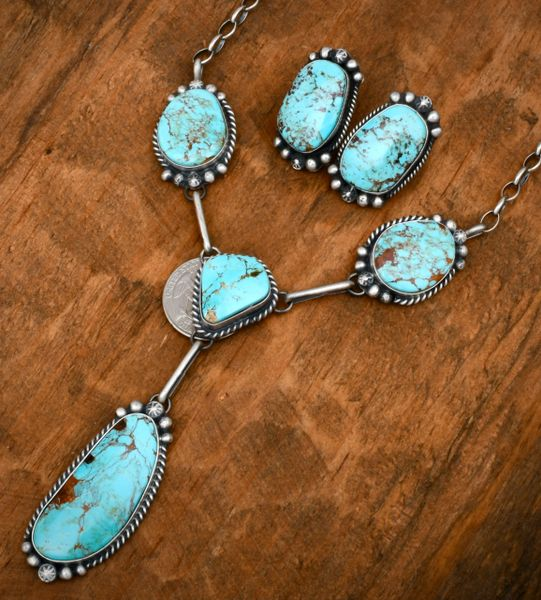 Navajo necklace and earrings with baby-blue Kingman turquoise, by Augustine Largo. #1840