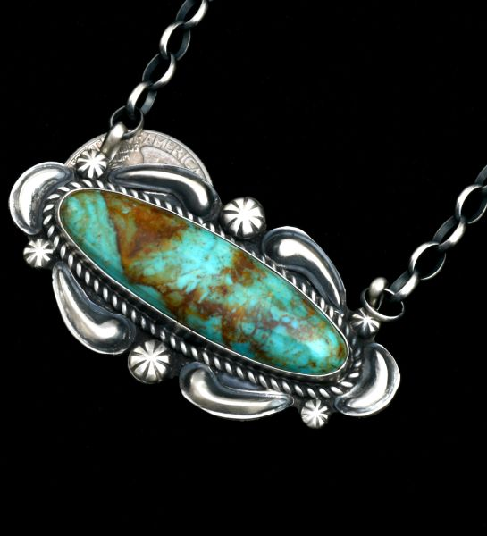 2.5-inch turquoise Navajo bar necklace by Jeff James.