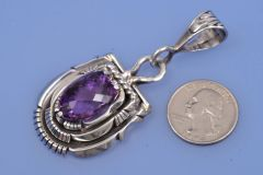 Gorgeous Navajo multi-layer sterling amethyist pendant by Robert Kelly