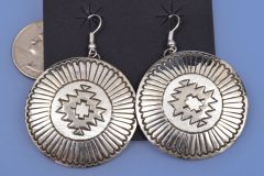 Very large dead-pawn Navajo hand-stamped sterling earrings