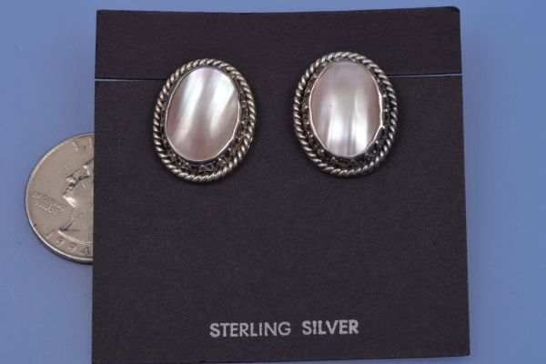 Vintage Navajo Sterling and rose-colored mother-of-pearl earrings. #0026