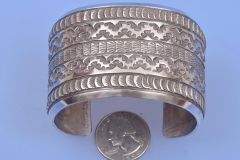 Wide, silver-only Navajo stamped cuff by Emerson Bill